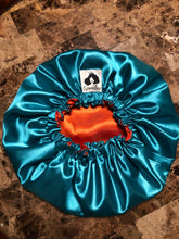 Load image into Gallery viewer, Bold Teal/ Orange Solid Reversible Satin Bonnet