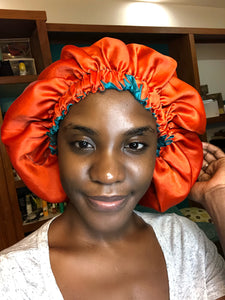 Bold Teal/ Orange Solid Reversible Satin Bonnet