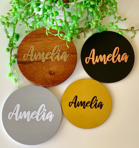 Personalised Coasters ~ Wedding Favours ~ Name Cards