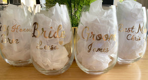 Bridal Party Wedding Glass Decals