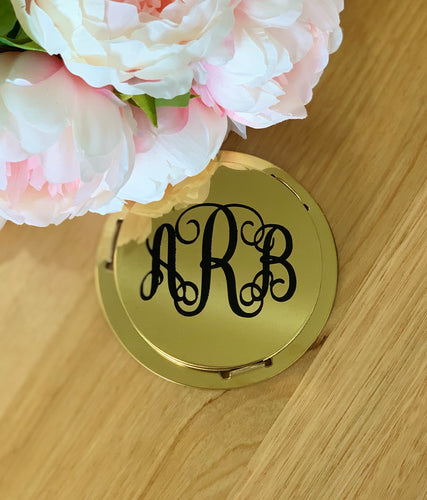 Monogram Initials Set of 6 Gold Mirror Coasters