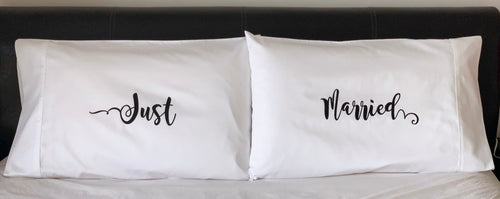 Just Married ~ 500TC Australian Cotton Pillowcases