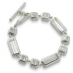 Monica Rich Kosann Single Silver and Rock Crystal Bracelet