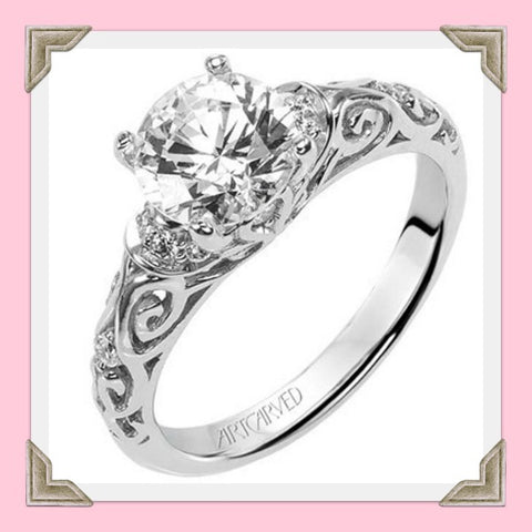 Carved Vintage style diamond engagement ring Peyton by Artcarved