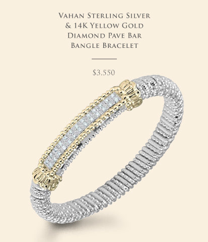 Vahan Sterling Silver & 14K Yellow Gold Diamond Pave Bar Bangle Bracelet