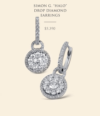 Simon G Halo Drop Diamond Earrings