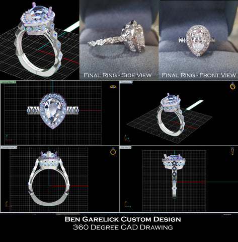Ben Garelick Custom Designed Pear Cut Engagement Ring - CAD Drawing