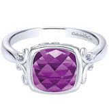 Gabriel Sterling Silver Cushion Shaped Amethyst Ring $150