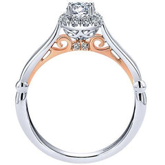 Gabriel 14K White Gold Pre-Set Diamond Cushion Halo Engagement Ring