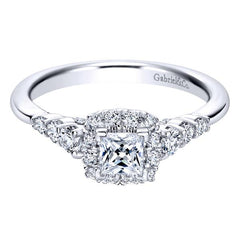 Gabriel 14K White Gold Pre-Set Princess Cut Diamond Halo Engagement Ring