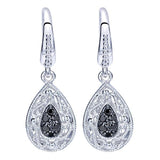 Gabriel 0.18 Carat Black Spinel Filigree Drop Earrings in Sterling Silver $165