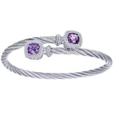 Gabriel Steel and Sterling Silver Cable Bangle Set With 2.89 Carats Amethysts $225