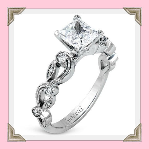 Simon G. Vintage Style Scrollwork Filigree Engagement Ring