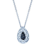 Gabriel 0.15 Carat Black Spinel Tear Drop Filigree Pendant With Cable Chain in Sterling Silver