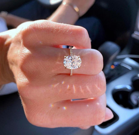 oval cut moissanite ring