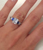"Kirk Kara ""Charlotte"" 18K White Gold Blue Sapphire Diamond Three Stone Engagement Ring On Hand"