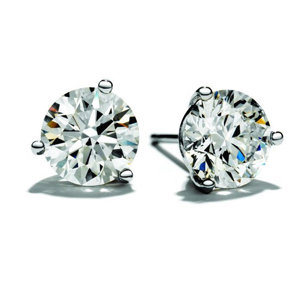 3.00 Carats Ben Garelick 14K White Gold 3 Prong Stud Earrings