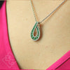 Ben Garelick 14K White Gold Emerald & Diamond Teardrop Pendant