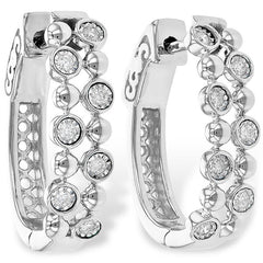 "Ben Garelick White Gold ""Champagne Bubbles"" Bezel Set Diamond Earrings"