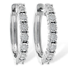 Ben Garelick Classic Oval Shape Diamond Hoop Earrings