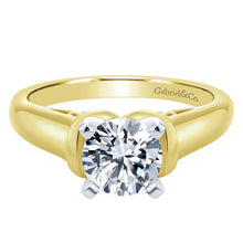 "Load image into Gallery viewer, Ben Garelick Royal Celebrations ""Quinn"" 14K Yellow Gold High Polish Solitaire Diamond Engagement Ring"