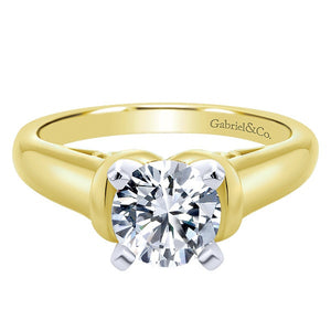 "Ben Garelick Royal Celebrations ""Quinn"" 14K Yellow Gold High Polish Solitaire Diamond Engagement Ring"