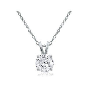 0.33 Carat Diamond Solitaire 14K White Gold Pendant on 18 Inch Rope Chain.