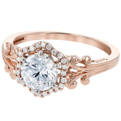 Ben Garelick Vintage Style Rose Gold Halo Diamond Engagement Ring