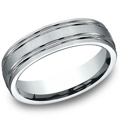 Benchmark 6MM Comfort Fit Parallel Grooves Mens Satin Finish Wedding Ring