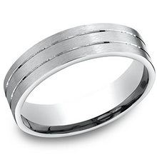 Load image into Gallery viewer, Benchmark 6 MM Mens Wedding Band with Satin Finish and Stripes