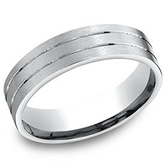 Benchmark 6 MM Mens Wedding Band with Satin Finish and Stripes