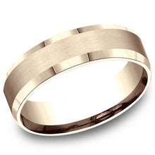 Load image into Gallery viewer, Benchmark 6 MM 10K Rose Gold Satin Finish Center Wedding Band