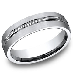 Benchmark 6MM Comfort Fit Carved Satin Finish Wedding Band