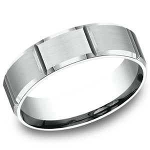 Benchmark 6 MM Comfort Fit Carved Satin Finish Wedding Band