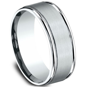 Benchmark 8MM Wide Comfort Fit Carved Band with Center Satin Finish Featuring a High Polished Round Edge