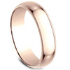Benchmark Classic Rose Gold 6MM High Polish Dome Wedding Band