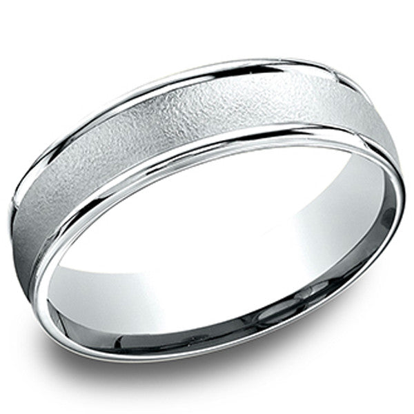 "Benchmark 6MM 10K White Gold Carved Comfort Fit Mens Wedding Band With ""Sandblast"" Center"