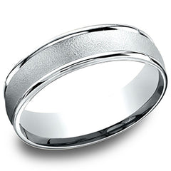 "Benchmark 6MM ""Sandblast"" Center Carved Comfort Fit Wedding Band"