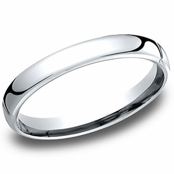 Benchmark 10K White Gold  3.5 MM Flat Style Traditional European Comfort Fit Wedding Band
