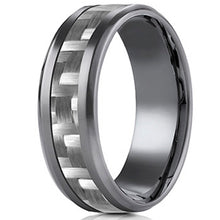 Load image into Gallery viewer, Benchmark Tantalum Carbon Fiber Weave Inlay Men's Wedding Band