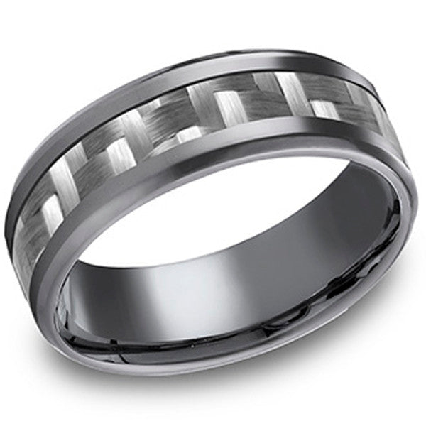 Benchmark Tantalum Carbon Fiber Weave Inlay Men's Wedding Band