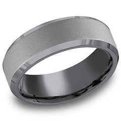 "Benchmark ""Tantalum"" 7mm Comfort Fit Grey & Black Men's Wedding Band"