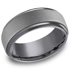 "Benchmark ""Tantalum"" 9mm Comfort Fit Grey & Black Men's Wedding Band"
