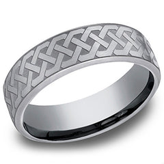 "Benchmark ""Tantalum"" 6.5mm ""Celtic LoveKnot"" Comfort Fit Grey & Black Men's Wedding Band"
