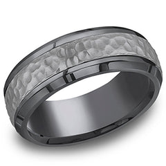 "Benchmark ""Tantalum"" 7.5mm Hammered Texture Comfort Fit Grey & Black Men's Wedding Band"