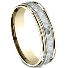 Load image into Gallery viewer, Benchmark 6mm Comfort-Fit Two-Tone Hammered Wedding Ring