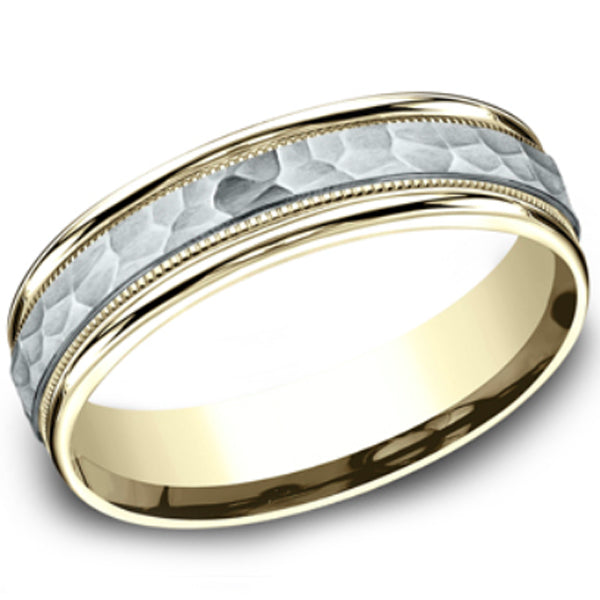 Benchmark 6mm Comfort-Fit Two-Tone Hammered Wedding Ring