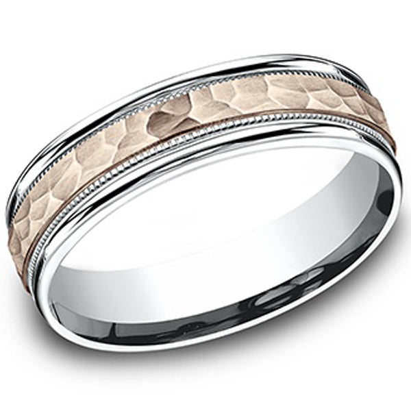 Benchmark 14K Rose and White Gold 6mm Comfort-Fit Two-Tone Hammered Wedding Ring