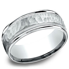 Benchmark 14kt White Gold 6.5mm Hammered Mens Wedding Ring