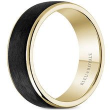 Load image into Gallery viewer, Bleu Royale Black Carbon & Beveled Edge Wedding Band